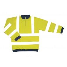 HVE37 Hi Visibility Yellow Sweat Shirt with Zip Collar